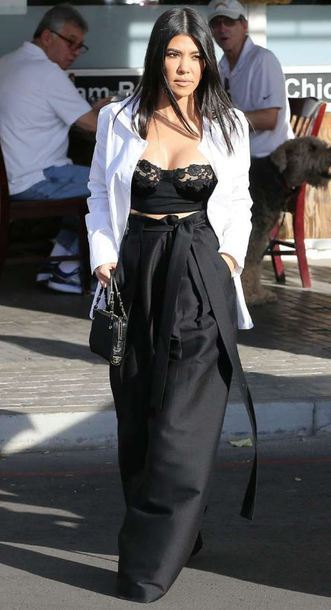 top bra pants high waisted wide-leg pants kourtney kardashian kardashians black and white lace bralette