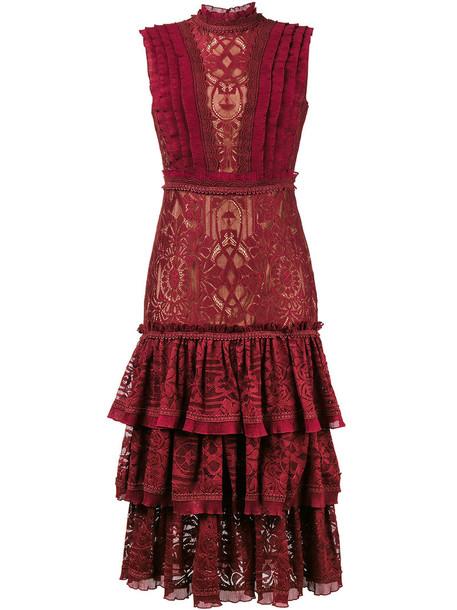 dress lace dress women spandex lace red
