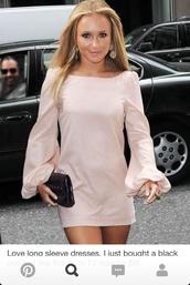dress,light pink,hayden panettiere,long sleeve dress