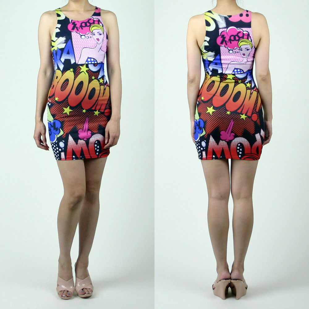 New Kaboom Kapow Cartoon Pink Comic Pop Mini Fitted Bodycon Dress Made in USA