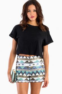 Aztec Sequin Shorts - TOBI