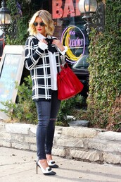 the courtney kerr,blogger,red bag,checkered,black and white,sweater,top,jeans,shoes,bag,jewels,sunglasses