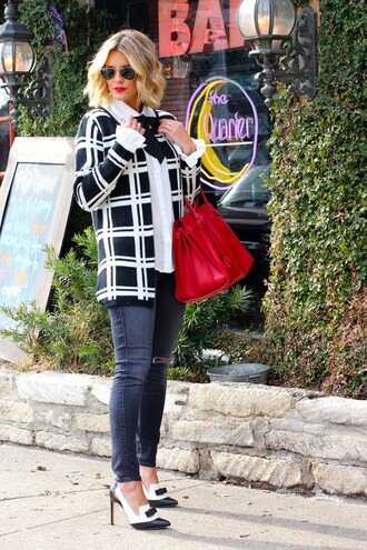 the courtney kerr blogger red bag checkered black and white sweater top jeans shoes bag jewels sunglasses