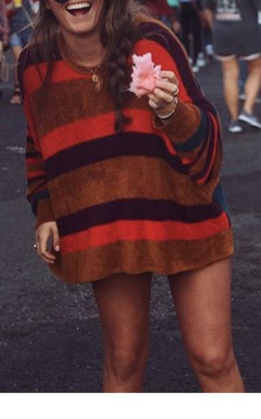 sweater striped burnt orange sweater