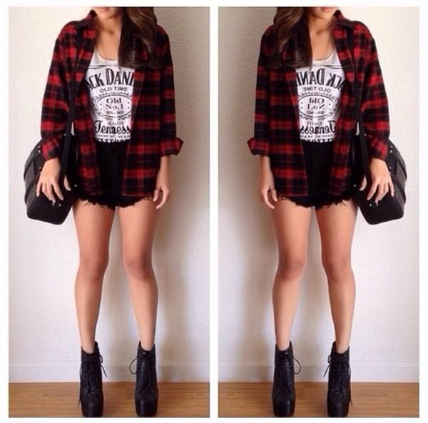 shirt flannel shirt plaid shirt blouse shoes high heels shorts High waisted shorts