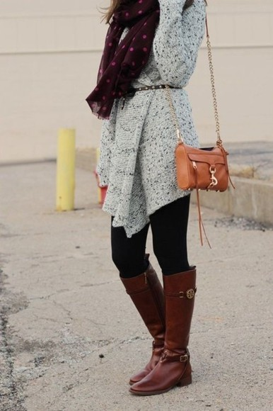 grey black cardigan long sleeve leggings brown boots sweater brown red scarf shoes