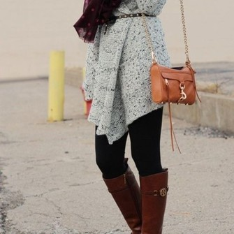 sweater red scarf black shoes grey brown cardigan leggings brown boots long sleeves scarf red