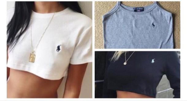 af2f2c07bcd t-shirt, shirt, polo shirt, crop tops, white crop tops, top, grey ...