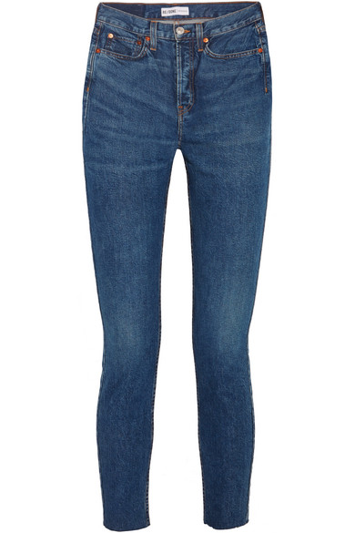 RE/DONE - Originals High-Rise Ankle Crop frayed skinny jeans