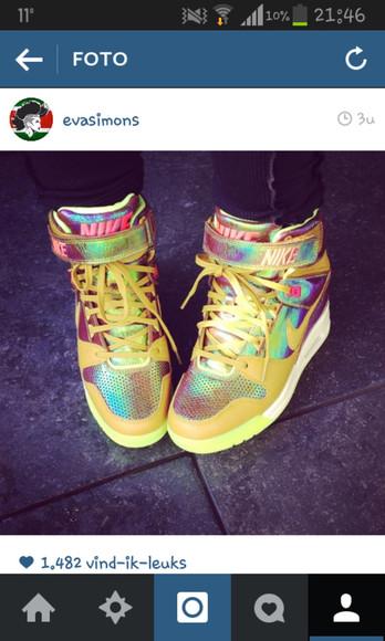 shoes metallic rainbow evasimons nike sneakers nike sky dunk eva simons instagram nikes