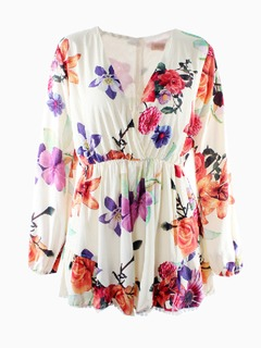 Floral Print Long Sleeves Romper Playsuit - Choies.com