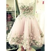 dress,pink,flowers,green,fairy tale,floral,tutu dress,sleeveless,gown