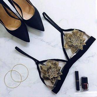 lace bralette lace bra bra gold lingerie dark nail polish nail polish angl hoop earrings gold earrings black heels black stilettos high heels lip gloss lipstick fall colors floral bralette bralette