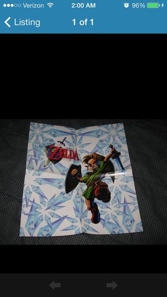 jewels vintage old legend of zelda loz link hyrule promo ocarina oot ocarina of time n64 nintendo poster posters zelda