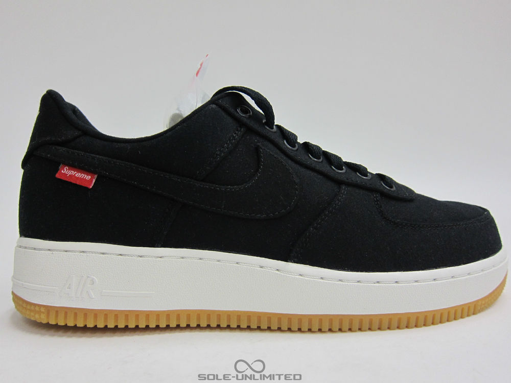 Nike AIR Force 1 LOW Premium 08 NRG X Supreme Black GUM RED 573 488 090 DS | eBay