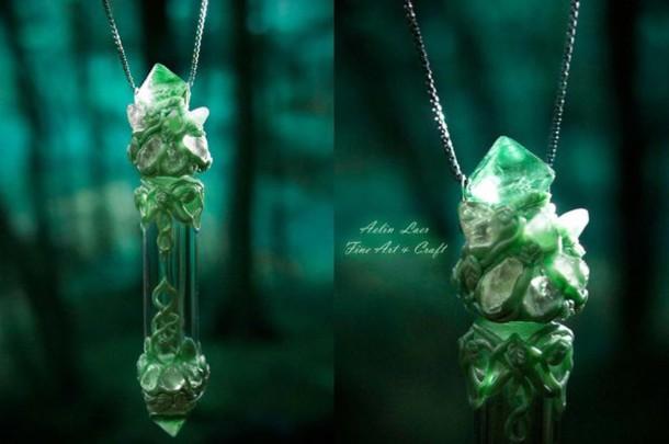 jewels elvish necklace elvish necklace green necklace fantasy