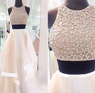 dress white dress sparkle dress skirt white crop tops white formal dress formal dress white white dress two piece dress set two piece prom dresses sparkly top long skirt white skirt prom dress