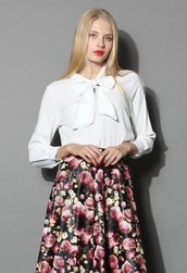 top,bow chiffon blouse in white,chicwish,bow,chiffon