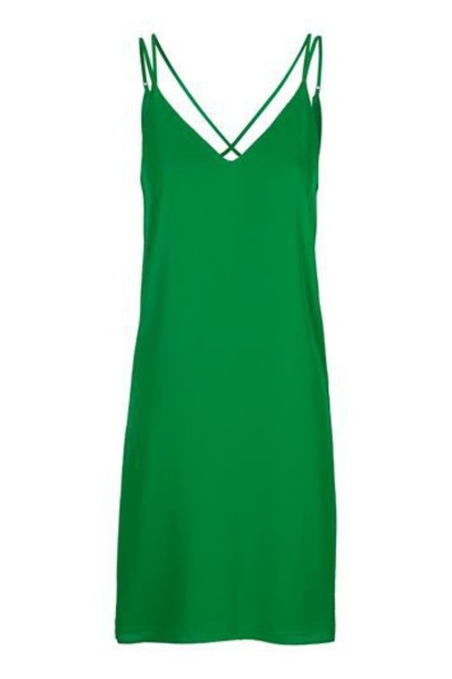 dress slip dress cross back green bright