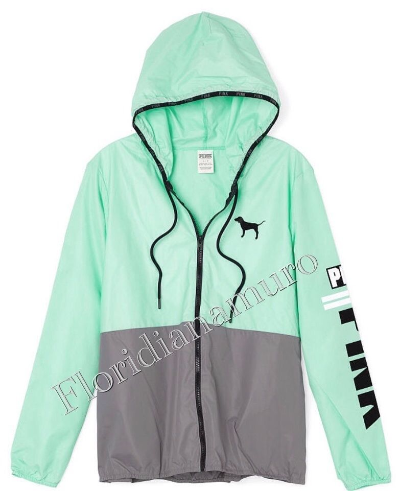 Victoria's Secret PINK Full Zip Anorak Windbreaker Hoodie Mint ...