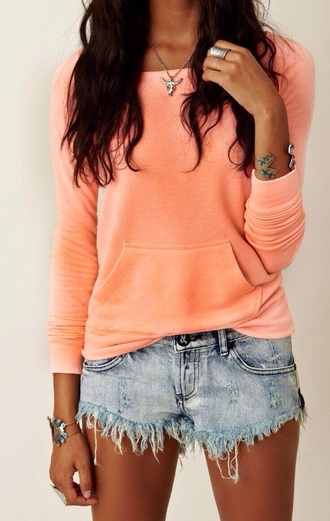 sweater jewels shorts peachy colored long sleeves cut offs acid wash orange sweater the whole outfit coral crew