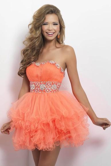 ruffle homecoming dress orange dress