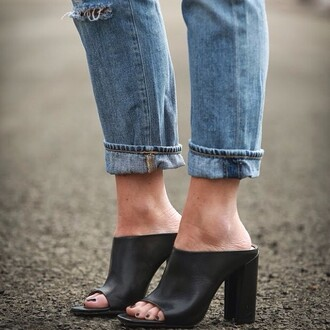 shoes jeans black mules cuffed jeans blue jeans mules block heels