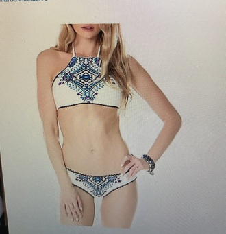 swimwear white blue purple pattern