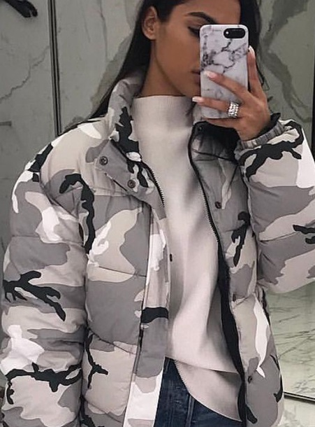 jacket camo grey and white puffer