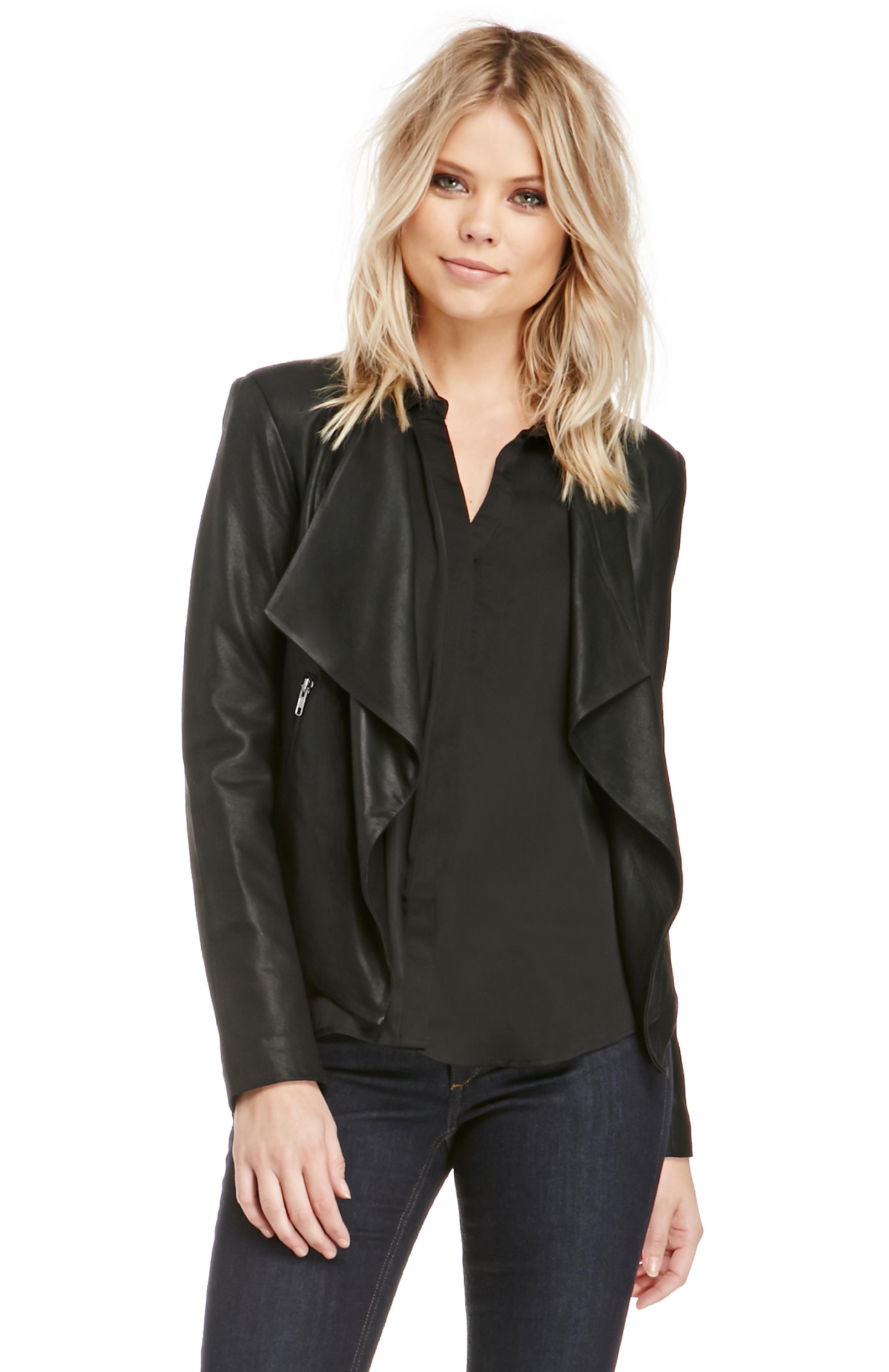 DailyLook: BB Dakota Tyne Leather Jacket in Black M - L