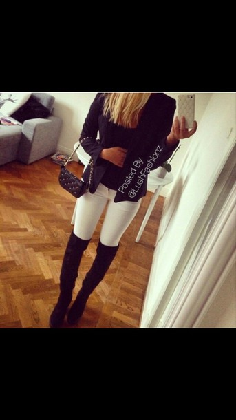 jacket black jacket white jeans