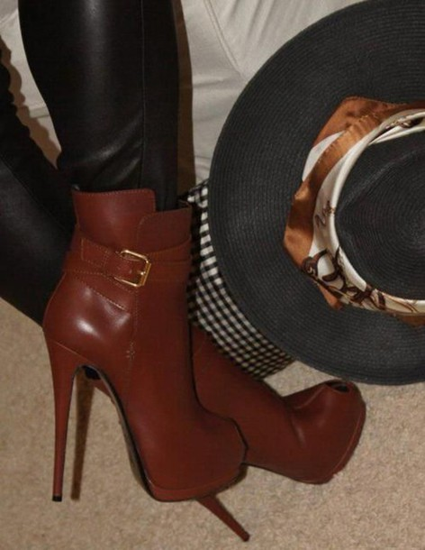 Shoes: brown leather, brown leather high heels, brown leather high ...