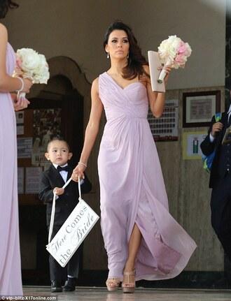 dress eva longoria bridesmaid purple dress