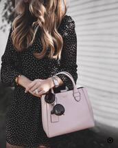 bag,tumbr,pink bag,sunglasses,round sunglasses,watch,silver watch,dress,black dress,long sleeves,long sleeve dress,mini dress