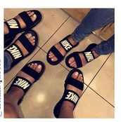 shoes,slide shoes,nike,nike shoes,nike pro,black,white,sandals,nike slides,girl,girly,cute