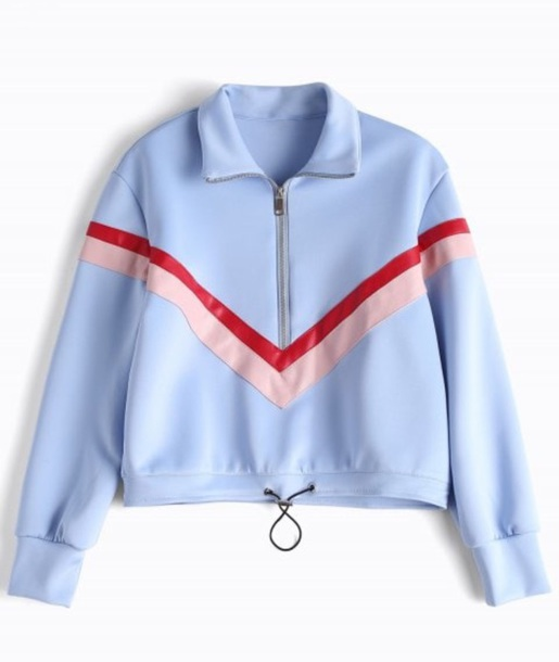 sweater girly blue jacket zip red pink