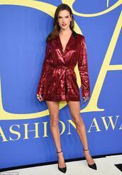 romper,red,red dress,sequins,sequin dress,alessandra ambrosio,cfda,pumps,model