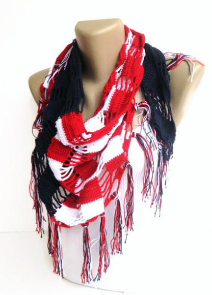 american flag red white and blue stripes scarf american flag scarf crochet crochet scarf fashion summer cotton summer scarf summer outfits best gifts moms gift mothersday gift idea july4th 4th of july