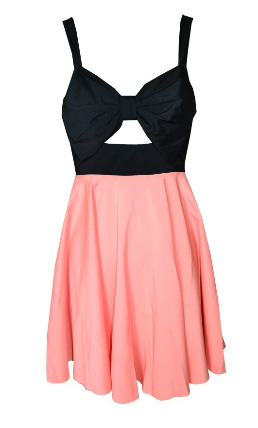 Pink Party Dress - Pink & Black Skater Dress | UsTrendy