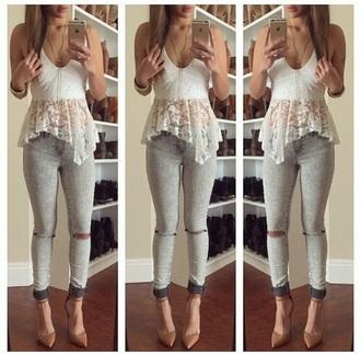 blouse lace shirt peplum top white top