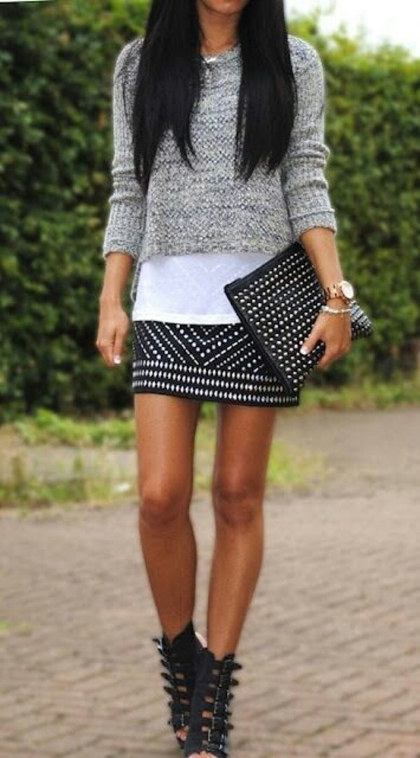 skirt shoes sweater blouse grey sweater