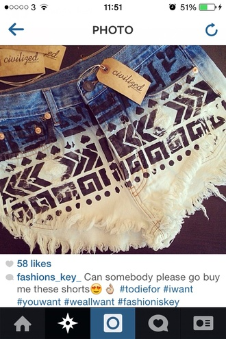shorts aztec shorts patterned bikini bottoms acid wash high waisted blue shorts