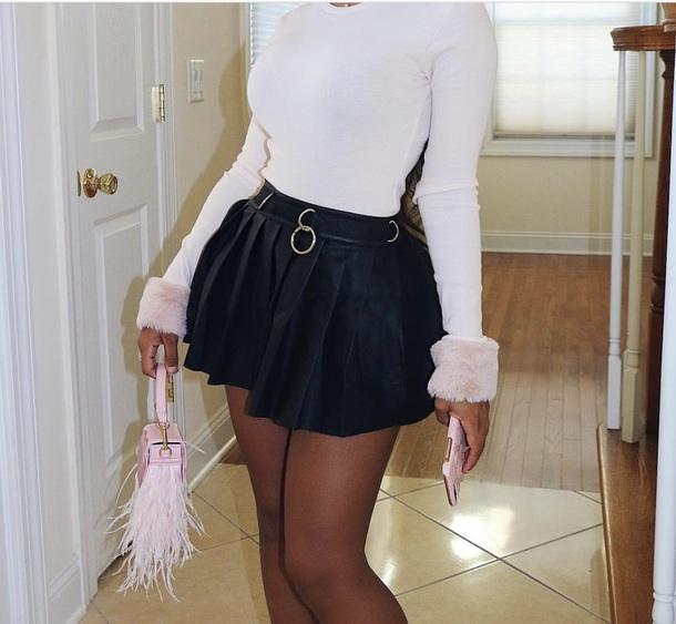 skirt leather pleated mini skirtt
