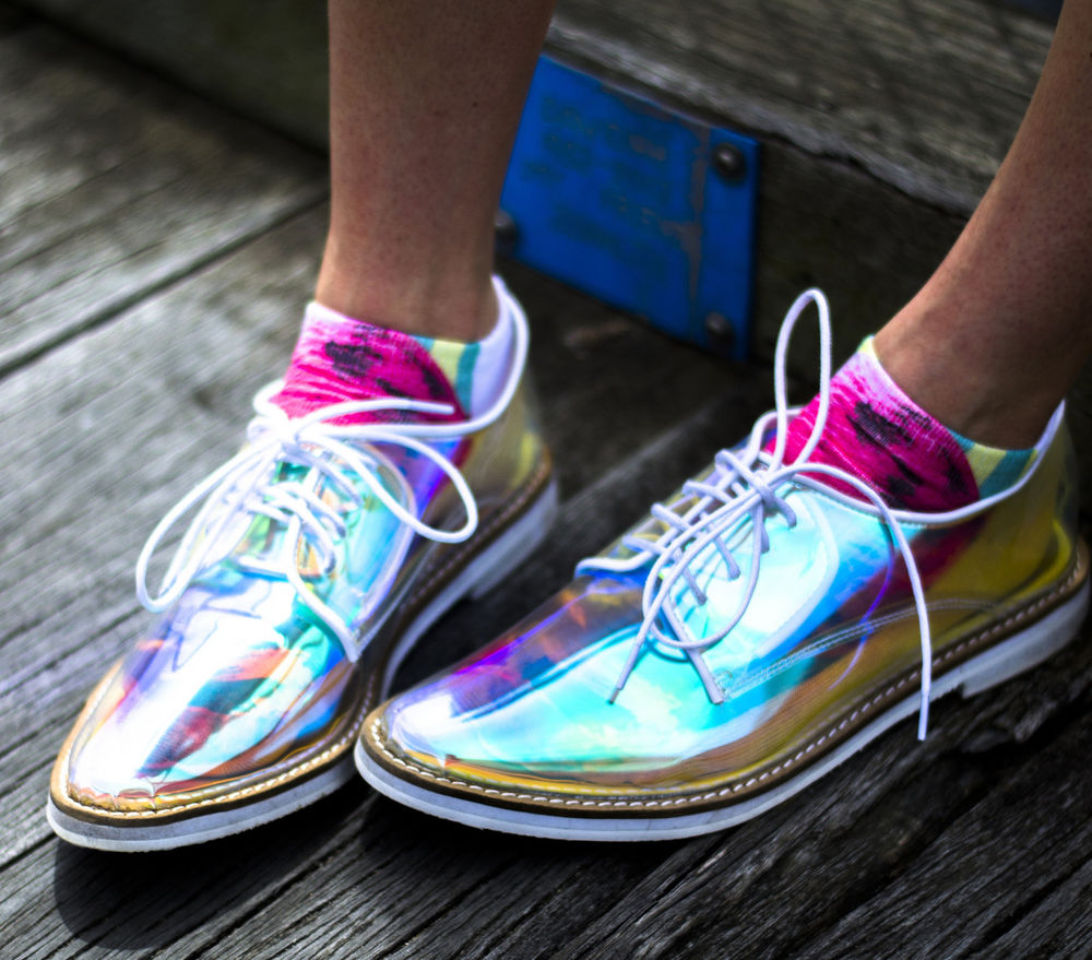 Transparent oxford laceups men's women's flats hologram holographic iridescent