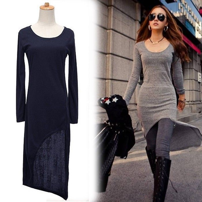 Aliexpress.com : Buy 2014 New Sexy Fashion Womens Split Bodycon Slim Fit Long Sleeve Irregular Slit Dress Black Grey Dress Free Shipping from Reliable new look day dresses suppliers on Shenzhen Gache Trading Limited