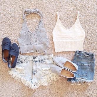 shorts lace jean shorts grey knit top