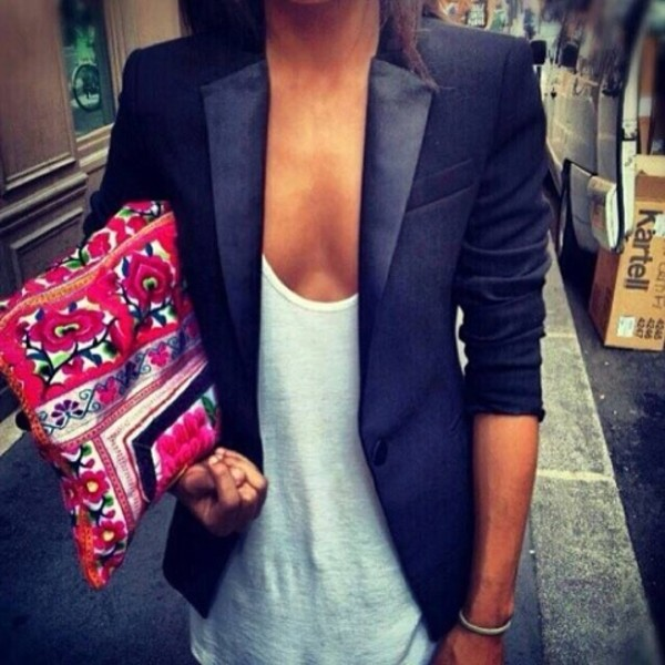 jacket black jacket tank top bag leather blazer black black blazer blouse jewelry everything bag pink colorful flowers floral