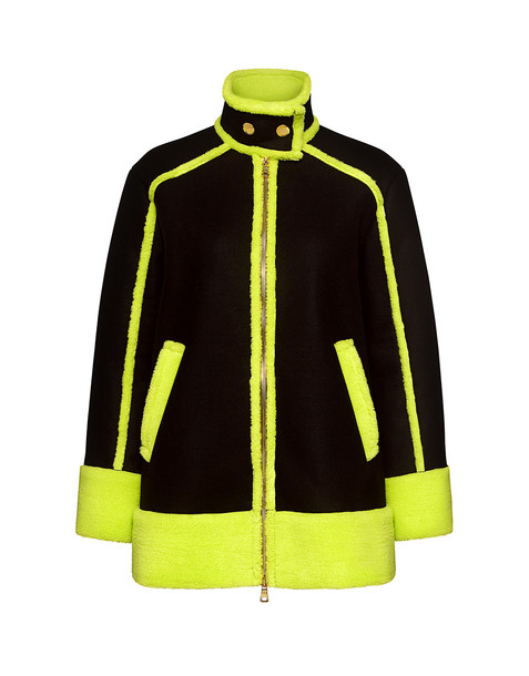 BOUTIQUE MOSCHINO coat neon black green