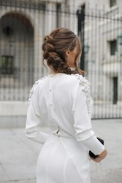 hair accessory,tumblr,hairstyles,braid,dress,white dress,long sleeves,long sleeve dress,wedding hairstyles,wedding,embroidered dress,wedding clothes