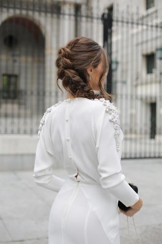 hair accessory tumblr hairstyles braid dress white dress long sleeves long sleeve dress wedding hairstyles wedding embroidered dress wedding clothes